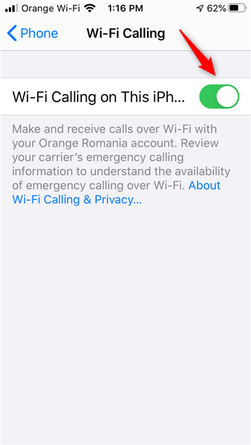 Wi-Fi Calling is enabled