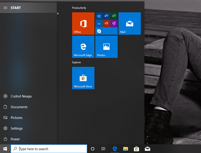 The navigation pane from the Start Menu expands when you hover over it