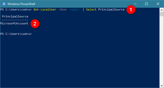This PowerShell command tells you what type of account you are using