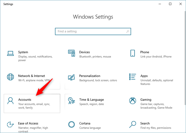 The Accounts category in Windows 10 Settings