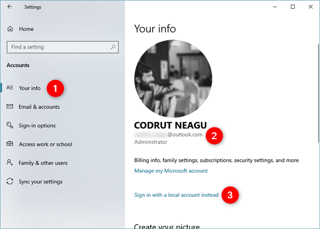 Windows 10 Settings shows that a Microsoft account is used