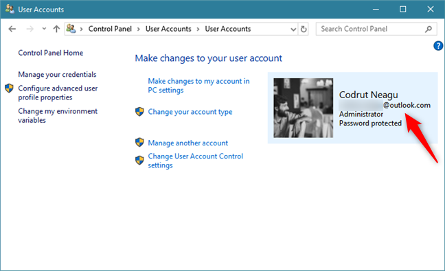 The Control Panel from Windows 10 shows that a Microsoft account is used