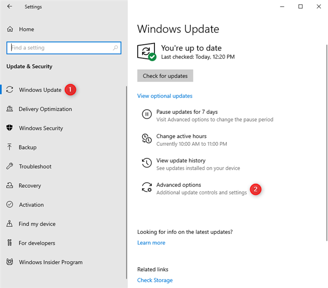 Click or tap Advanced options in the Windows Update settings