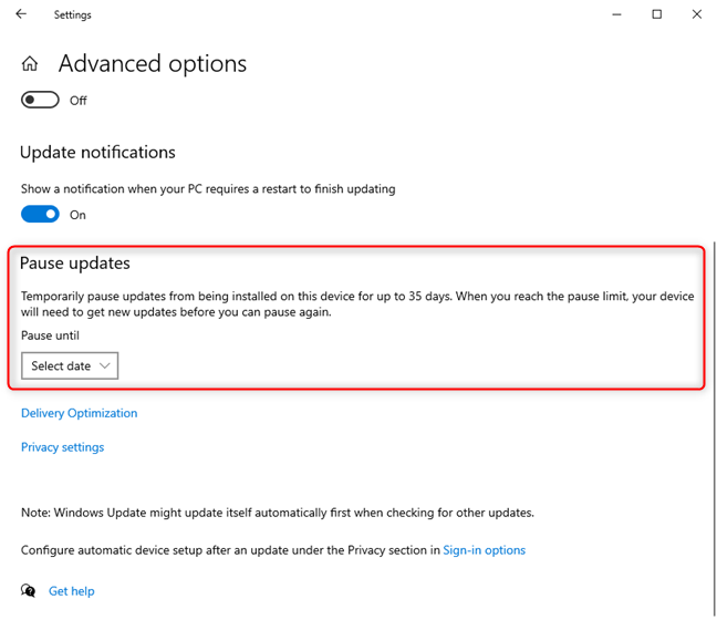 The Pause updates section for Windows Update