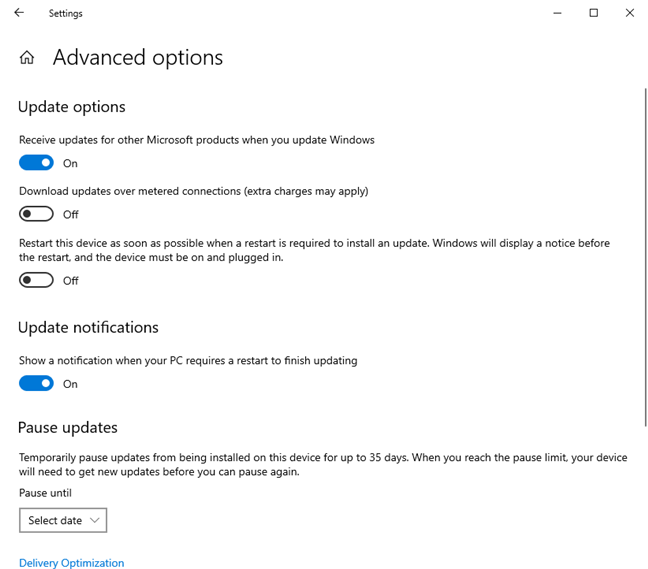 The Advanced options for Windows Update in Windows 10 May 2020 Update