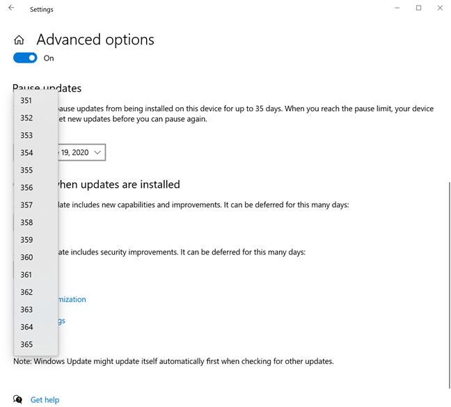 Feature updates to Windows 10 can be postponed for up to 365 days