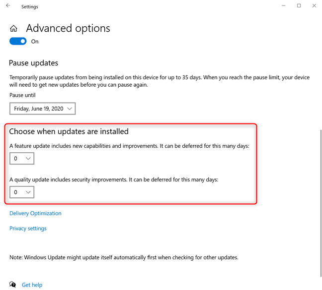 Choose when updates are installed in Windows 10 Pro or Enterprise