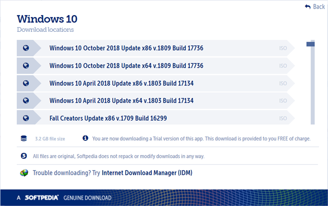 The Windows 10 download page from Softpedia