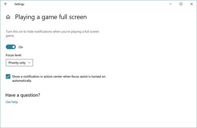 Choosing to stop Windows 10 notifications when playing games
