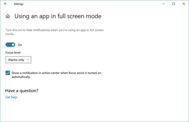 Snooze notifications when running an app in fullscreen