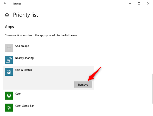 Removing an app from the Priority list
