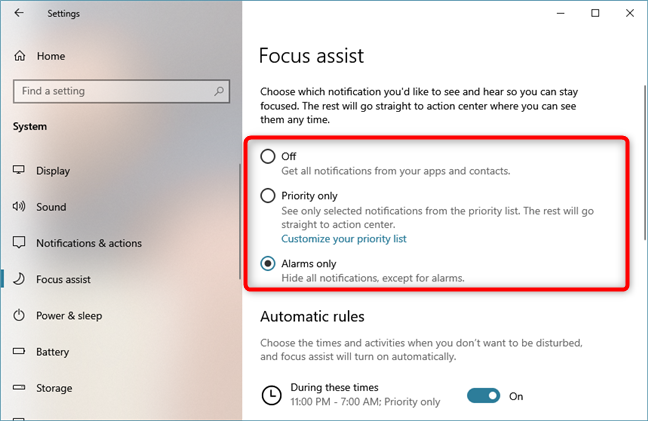 Turning Focus assist on from the Settings app
