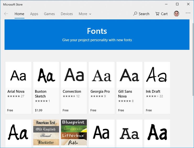 The Fonts section in Microsoft Store
