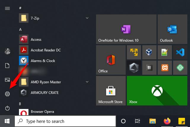 Opening Windows 10's Settings app