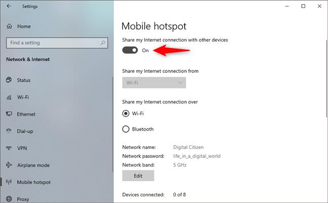 Turning on the Windows 10 hotspot