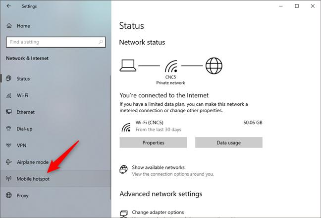 The Mobile hotspot settings