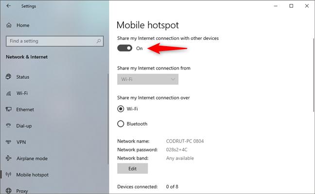 Enable the Windows 10 hotspot
