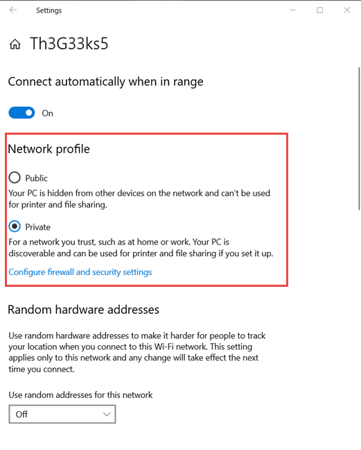 Set the network profile in Windows 10, for your WiFi connection