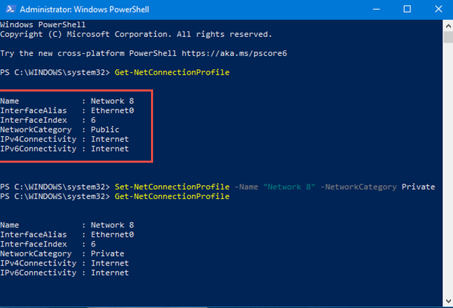 Change the network profile in PowerShell