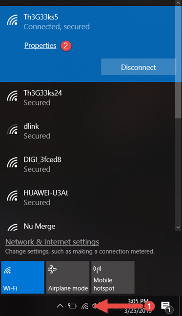 Click on the Properties of your WiFi network