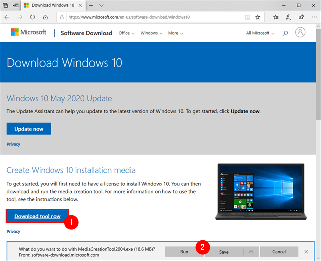The Media Creation Tool link on the Windows 10 download website