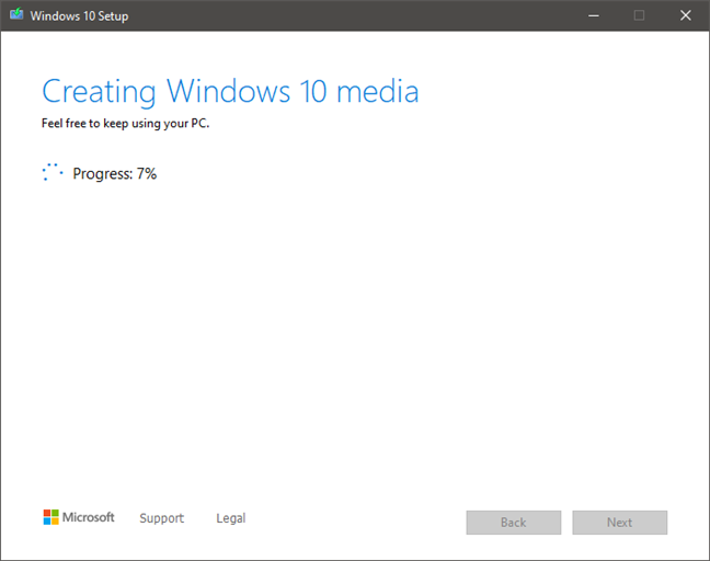 The Windows 10 ISO file is created