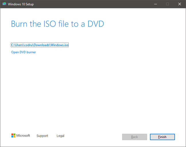 Finalizing the creation of the Windows 10 ISO file