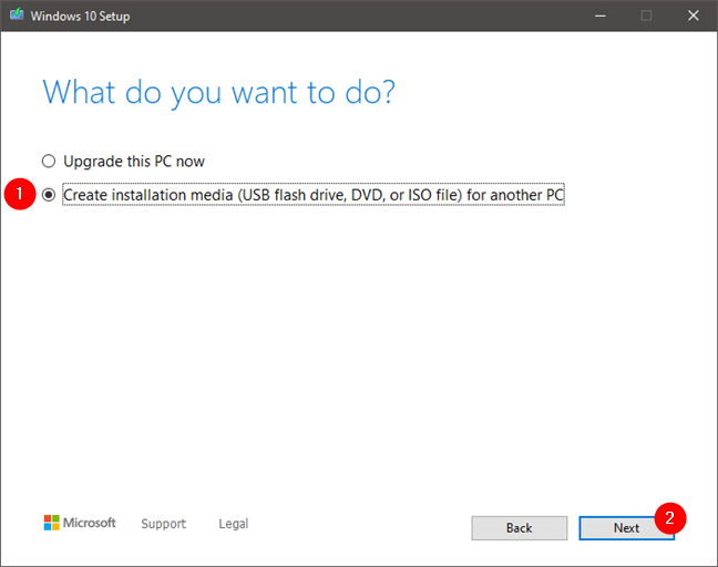 Choosing to create installation media (USB flash drive, DVD, or ISO file)
