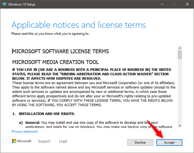 The license terms for Microsoft Software