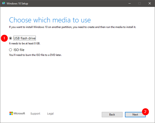 Choosing to create a bootable USB flash drive with Windows 10 on it