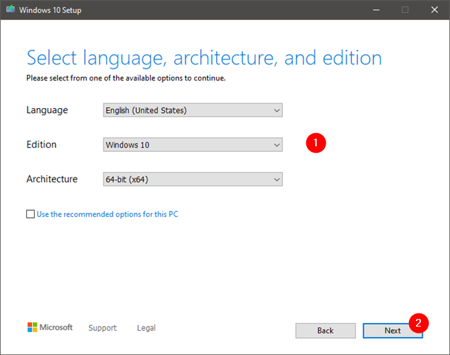 Choosing the language, edition, and architecture for the Windows 10 setup
