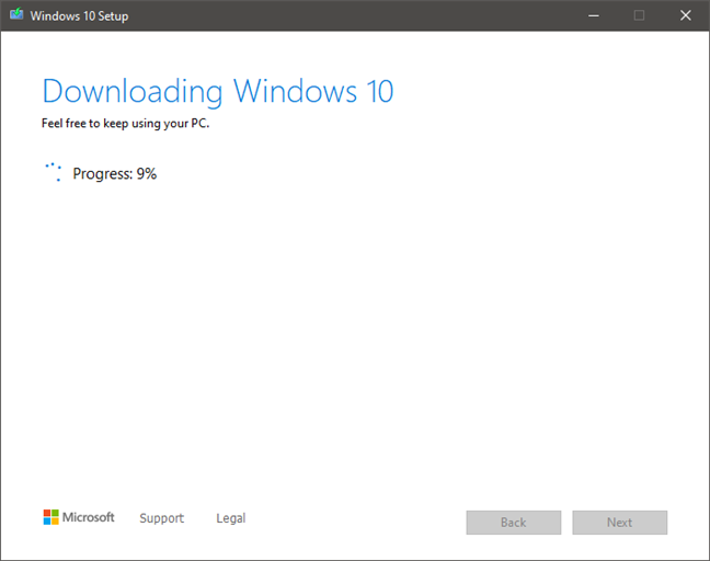 The download process for the Windows 10 installation files