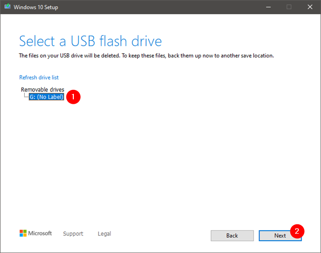 Selecting the flash drive or external hard drive to be used
