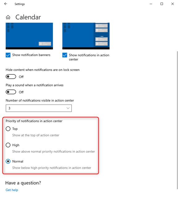 Setting the priority of the notifications sent by a Windows 10 app