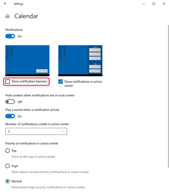 Uncheck the setting for Show notification banners in Windows 10