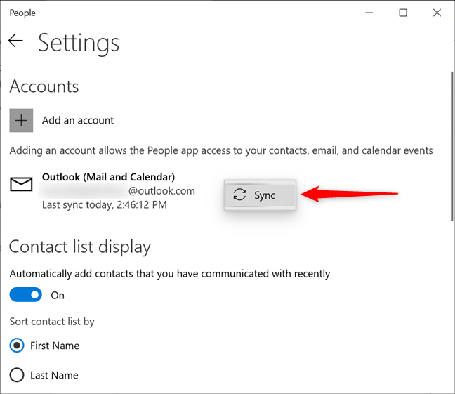 Syncing your account with the People app in Windows 10