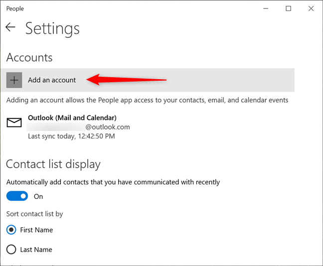 Adding a new account to the Windows 10 People app