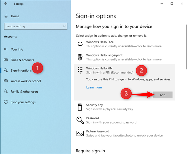 How to add a Windows 10 login PIN