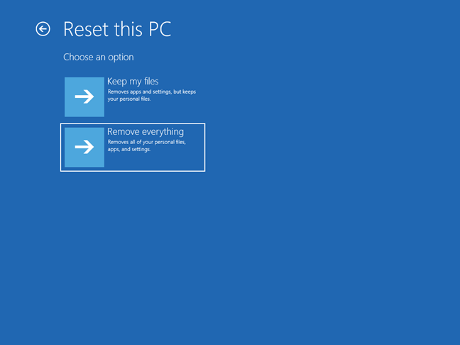 Choose Remove everything on the Reset this PC screen