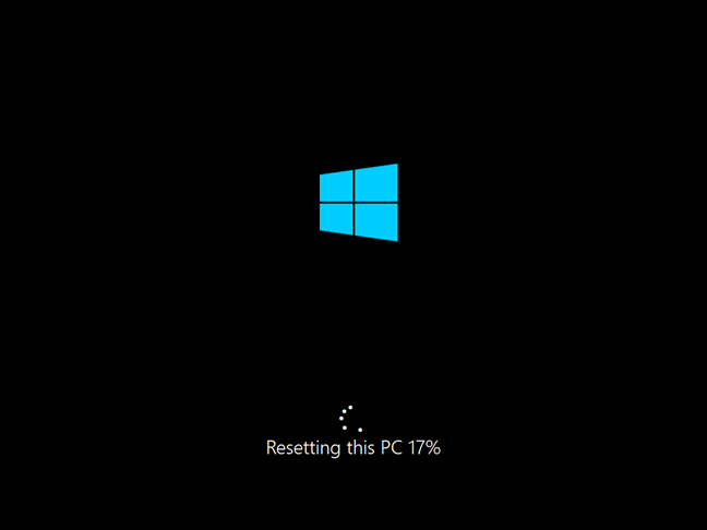 Progress on resetting this Windows 10 PC