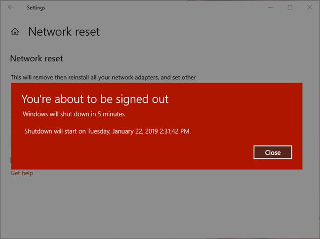 Windows 10 shutdown warning after network reset