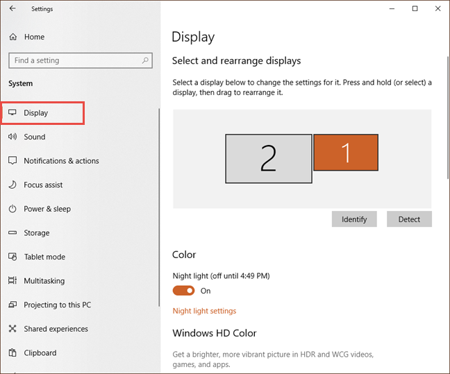 The Display settings in Windows 10