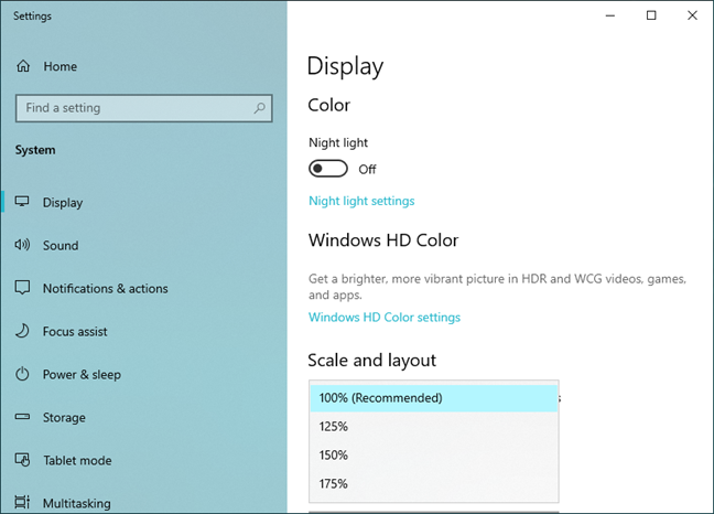 Options for changing the size of text, apps, and other items in Windows 10