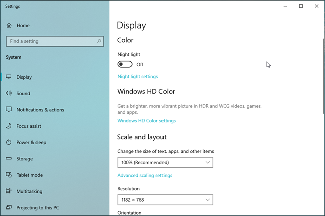 Display settings in Windows 10