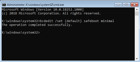 Activating Safe Mode from the Command Prompt