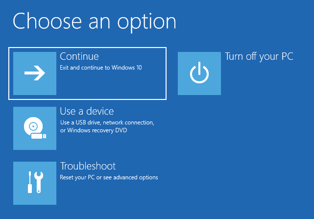 Continuing to Windows 10
