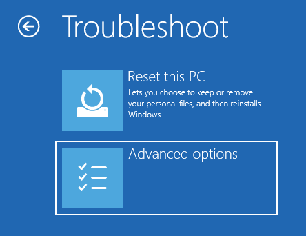 Accessing the advanced troubleshooting options