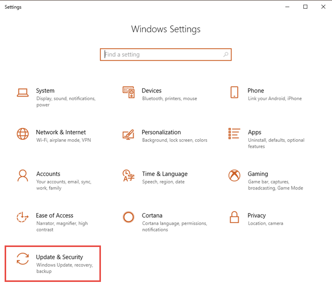 The Settings app from Windows 10