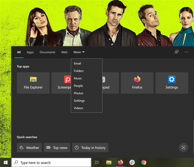 The Search screen from Windows 10 lets you choose a category