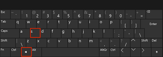 Press the Windows and S keys simultaneously to open Search